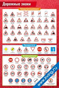 Плакат дорожные знаки: предупреждающие / приоритета / запрещающие