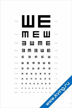 Плакат таблица для проверки зрения: ш-образная