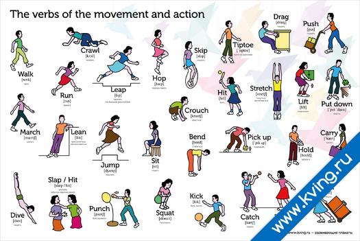 Плакат глаголы движения и действия